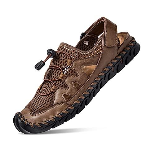 Sandalias para Hombre, Cuero Pescador Playa Punta Cerrada Hecho a Mano Transpirable Al Aire Libre Antideslizante Caminar Anticolisión Confort Senderismo Zapatillas Deportivas Zapatos Caqui 39 EU