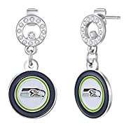 Glitzy Circle Post Earrings Decorated with Your Favorite NFL Team Colored Logo Embellished with Shimmering Crystals Secure Fit Clasp Ensures Care-Free Wear Beautiful Bejeweled Earrings to Showcase your Team Spirit!