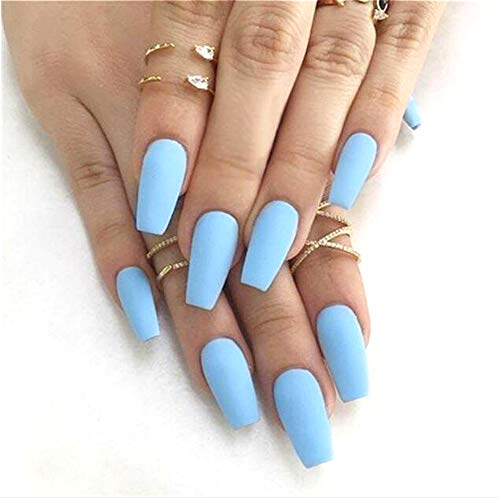 Cathercing 24 Pcs Ballerina Pure Color Matte Coffin Nails Full Cover Medium False Beauty Nails Fake Gel Nails Tips Art for Women Girls Gift Halloween Party (Blue)