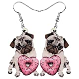 Bonsny Acrylic Valentine's Day Red Heart Love Pug Dog Earrings Drop Dangle Jewelry For Women Gift Charms