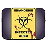 Sign of Infected Area Zombie Zone Bolsas para computadora portátil Compatible con Tableta Netbook de 15 ″, maletín con Funda, Funda para Bolso de Transporte