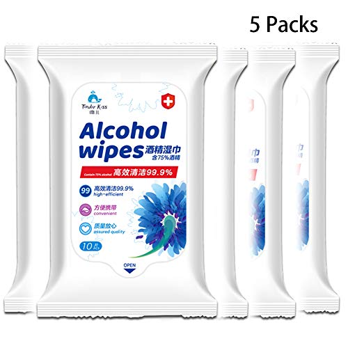 Large Size Disinfectant Wipes Portable Wet Tissue Mobile Phone Skin Toys Cleaning Travel 10 Sheets/Pack (5 Packs)