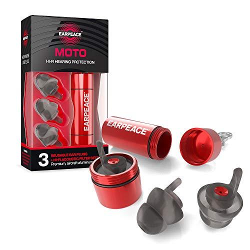 Bouchons d'oreilles EarPeace pour Moto. Réduction du Bruit et Protection auditive Haute fidélité pour Le Sport Automobile (Etui Rouge Standard)