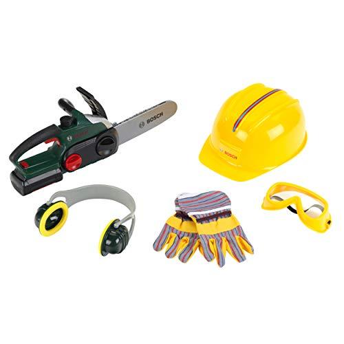 Theo Klein 8532 Motosega Bosch batterie con funzione sonora e luminosa, Con guanti, protezione per le orecchie, occhiali da lavoro e casco, Giocattolo per bambini a partire dai 3 anni