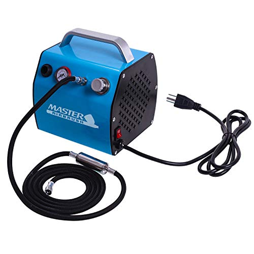 Master Airbrush Model TC-77, Super Quiet High Performance Airbrush Compressor with a 6 Inch Braided Hose with Mini-Inline Moisture Filter and a Free Quick Disconnect