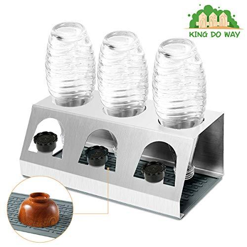 KING DO WAY Abtropfhalter Abtropfständer aus Edelstahl für Crystal und Emil Flaschen, Streambrush mit Deckelhalter Flaschenständer Herausnehmbare Abtropfschale für Glasflaschen 3X