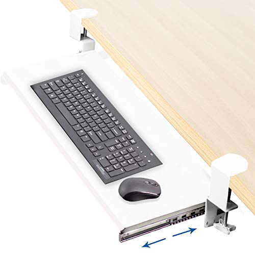VIVO White Clamp-on Computer Keyboard and Mouse Under Desk Mount Slider Tray, 27 x 11 inch Pull Out Platform Drawer (MOUNT-KB05W)