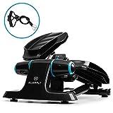 KLAR FIT Galaxy Step 2020 Edition - Mini Stepper Fitness, 2 Power Ropes, Charge Max. 120 kg, eBook Fitness Inclus, Ordinateur et écran LCD, Bleu/Noir