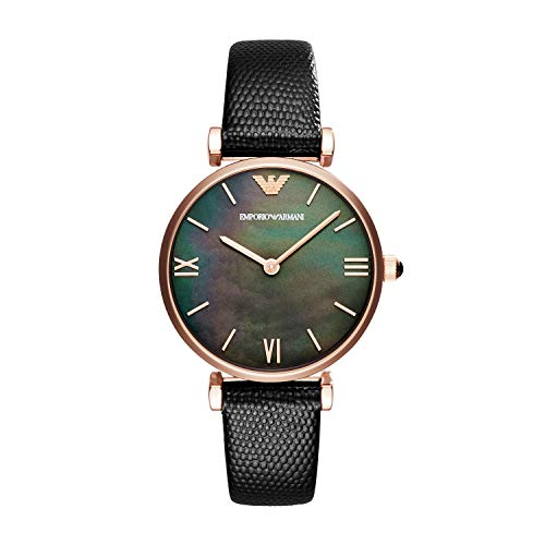Emporio Armani Damen Analog Quarz Uhr mit Leder Armband AR11060
