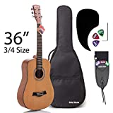 3/4 Size (36 Inch) Acoustic Guitar Bundle Junior/Travel Series by Hola! Music with D'Addario EXP16 Steel Strings, Padded Gig Bag, Guitar Strap and Picks, Model HG-36N, Natural Satin Finish