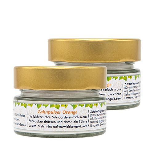 Birkengold Zahnpulver Orange 30 g Glas | plastikfrei | Im Glastiegel Verpackt | 100% Natürliche Zutaten | Keine Schaumbildner Und Konservierungsstoffe | Naturkosmetik Zertifiziert | Vegan