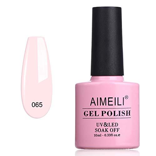 AIMEILI Soak Off UV LED Gel Nail Polish - Clear Pink Nude (065) 10ml