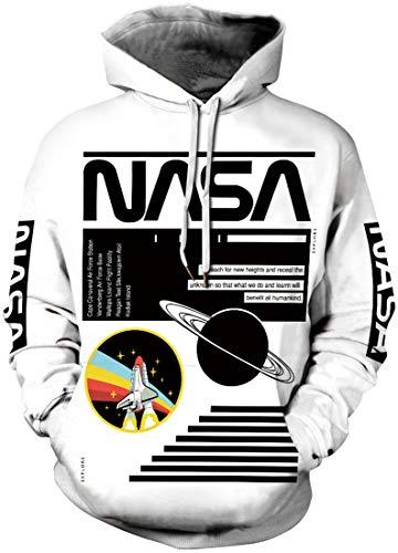 Chaos World NASA 3D Felpa Uomo con Cappuccio Unisex Pullover Hoodie Sweatshirt(Pianeta, M)