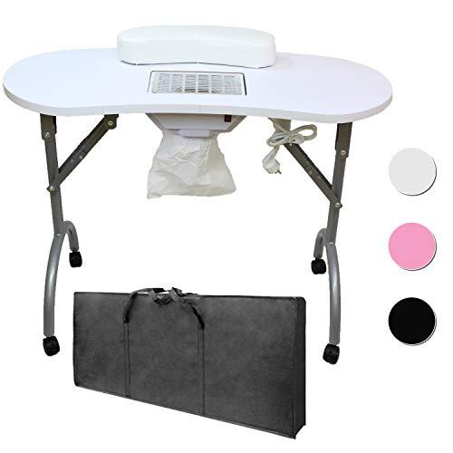 Tavolo Manicure Professionale Pieghevole con ASPIRATORE, Cuscino POGGIAPOLSI E Borsa - PESA Solo 12 kg - Dimensioni...