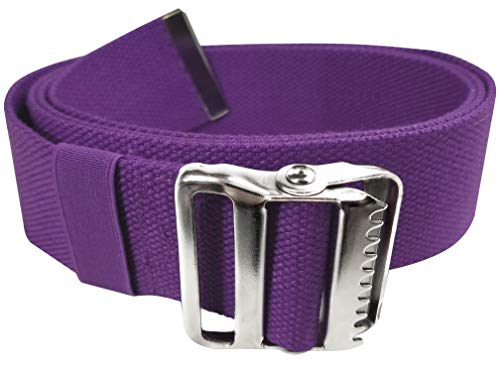 LiftAid Walking Gait Belt and Patient Transfer with Metal Buckle and Belt Loop Holder for Nurse, Caregiver, Physical Therapist (Purple, 60')