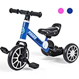 Peradix 3 in 1 Kids Tricycles for 1-3 Years Old, Three Wheels Toddlers Trike with Detachable Pedals, Toddler Tricycles Bike for First Birthday Gift, Baby Bike for 2 Years Old Boys Girls Trikes(Blue)