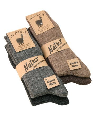 kb-Socken - 1-4 Paar Alpaka Socken Wollsocken dünn Herren u. Damen mit Alpaka Wolle weich und warm