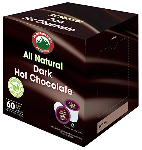 Mountain High All Natural Hot Chocolate K Cups 2.0 Compatible (Dark Chocolate, 60)