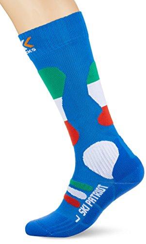 X-Socks Patriot Calze da sci Unisex, Blu (Italy Blue Background), 45/47