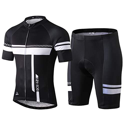 INBIKE Fahrradtrikot Herren Kurzarm Damen Fahrradbekleidung Männer Set Kurz Fahrrad Trikot und Radlerhose mit Sitzpolster(Weiß, XL)