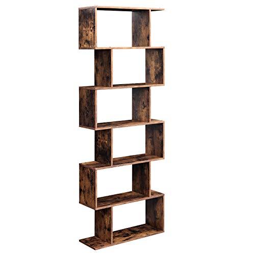 VASAGLE Bücherregal, Regal, Standregal zur Präsentation, freistehender Schrank, Dekoregal mit 6 Ebenen, vintagebraun LBC61BX