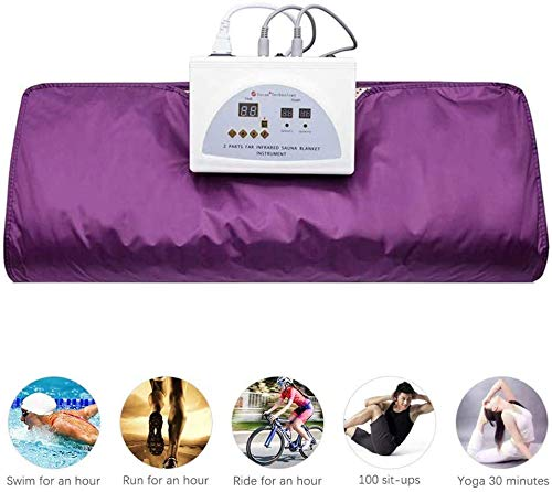 INLOVEARTS Far-Infrared (FIR) Sauna Blanket, 2 Zone Weight Loss Body Shaper Professional Detox Therapy Anti Ageing Beauty Machine (with Remote Control) (Purple) 4