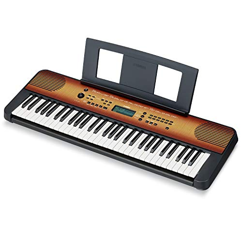 Yamaha PSRE360 61-Key Touch Sensitive Portable Keyboard with Power Supply, Maple Finish