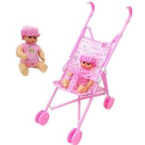 BTTNW Juguete de Cochecito de bebé Regalo de los niños Mixta Juego Carretilla Chica Casa del Juguete con el bebé Carro de bebé para niñas y niños (Color : Pink, Size : 20x15x56CM)