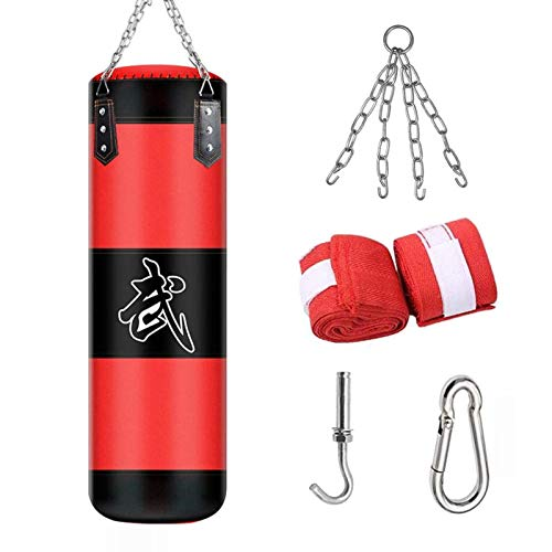 ALINILA Sac de Frappe Adulte,Punching Bag MMA Punching Ball Muay Thai Arts Martiaux Kickboxing Kit Boxe avec Gants Chaine Suspension Punching Bag(Pas de Remplissage)