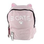 Mochila orelhinha de gato rosa bebê cat patinha