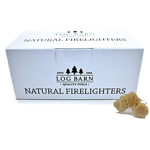 Encendedores de leña ecológicos naturales - 40 encendedores de fuego de llama de lana de madera para cocinar y calentar. Ideal para encender fuegos en estufas, barbacoas, hornos de pizza y fumadores