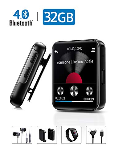 MP3 Player with Bluetooth,32GB Clip MP3 Player with FM Radio Wired Earbuds,Music Player with Touch Full Screen, Voice Recorder,Video Play, Wrist Belt, Mini MP3 Player Bluetooth for Running Workout