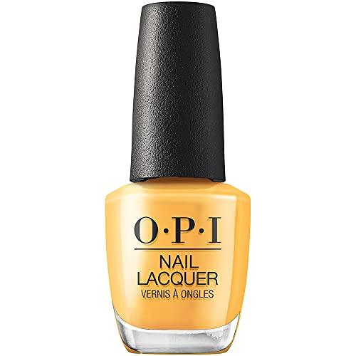 OPI Nail Lacquer, Marigolden Hour, Yellow Nail Polish, Malibu 2021 Collection, 0.5 fl oz