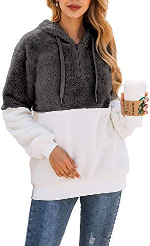 Bwiv Felpe con Cappuccio Donna Pullover Tops Termico a Manica Lunga Maglione Donna con 1/4 Zip Caldo Ragazza Invernale Grigio e Bianco M