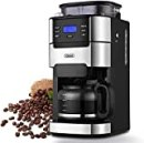 10-Cup Drip Coffee Maker, Grind and Brew Automatic Coffee Machine with Built-In Burr Coffee Grinder, Programmable Timer Mode and Keep Warm Plate, 1.5L Large Capacity Water Tank,900W, Black