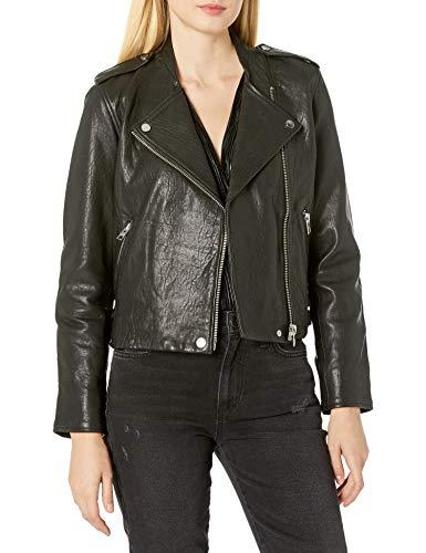41dnCFbW8pL Long sleeve Moto jacket Contrast zipper closure and pocket detail.