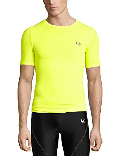 Ultrasport Basic Herren nahtloses Kompressions-T-Shirt Noam, atmungsaktiv, Kurzarm, für Sport, Training, Fitness, neon gelb, L/XL