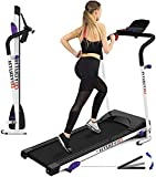 LICKLIP Folding Treadmill for Home with 3 Levels Manual Incline Pulse Grip and Safe Key Fitness...