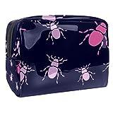 Bolsa de maquillaje portátil con cremallera bolsa de aseo de viaje para las mujeres práctico almacenamiento cosmético bolsa de gusano de dibujos animados