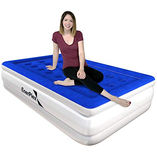 EnerPlex Premium Dual Pump Luxury Twin Size Air Mattress Airbed with Built in Pump Raised Double High Twin Blow Up Bed for Home Camping Travel 2-Year Warranty