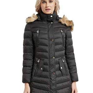 CROYEE Women's Winter Quilted Puffer Coat Padded Jacket with Removable Fur Hood