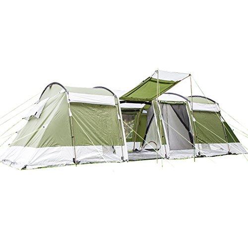 skandika Montana 8 - Tente de Camping Familiale Tunnel - 700 x 310 cm - 8 Personnes (Vert)