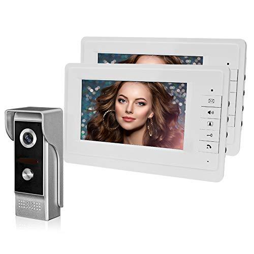 HFeng 7 '' Videocitofono a colori TFT Videocitofono campanello 2 monitor + 700TVL Telecamera per esterni IR Visione notturna per casa