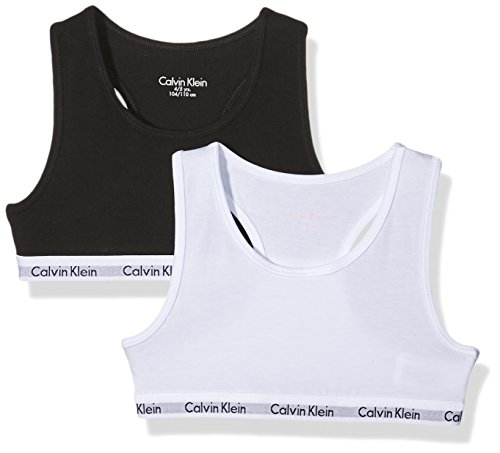 Calvin Klein 2pk Bralette Ropa interior, White/Black 908, X-Large (12-14 años) para Niñas