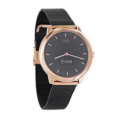 X-WATCH 54033 Hybrid-Smartwatch CLEO XW Connect Smartwatch Damen Armbanduhr mit Schrittzähler Samtschwarz/Rosegold