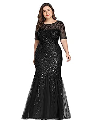 Notice: Please choose at least one or two sizes bigger than your usual size. Fully lined, not padded in the bust, zipper closure, low stretchy. This long dress features a mermaid skirt and leaf pattern decorated with sequin and embroidery. Features: ...