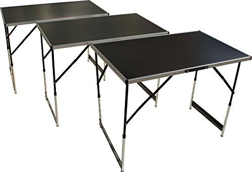 Multifunktionstisch 3teilig, Tapeziertisch und Arbeitstisch mit 30kg Tragkraft (100 x 60 cm), höhenverstellbares Stahlgestell, klappbar mit Tragegriff