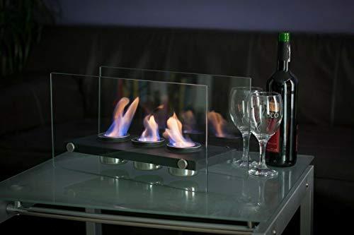 Bio Ethanol Fireplace Indoor Outdoor Camping Glass Top Burner Fire VIC3 (Black)