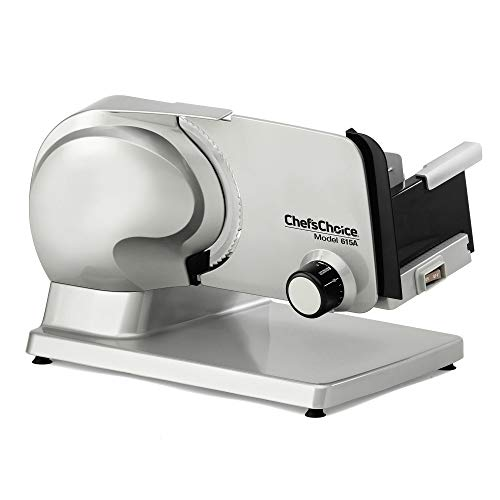 Chef'sChoice 615A Electric Meat Slicer Features Precision Thickness Control and Tilted Food Carriage for Fast and Efficient Slicing with Removable Blade for Easy Clean, 7-inch,Stainless Steel