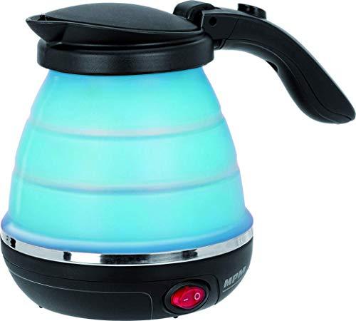 MPM MCZ-73/N Faltbarer elektrischer Wasserkocher, sauerstoffbeständig, automatischer Deckel, Silikon, 0,5 Liter, 750W, BPA-frei, blau